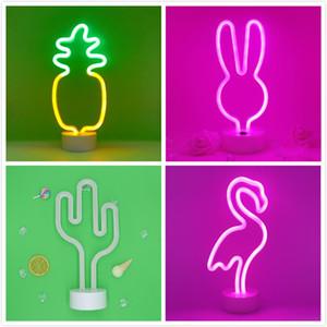 16 Renkler Neon Burcu Ay / Kaktüs / Açı Gökkuşağı Hindistan Cevizi Palmiye ağacı Ananas Parti Malzemeleri için Tutucu Tabanı ile LED Neon Işık Burcu