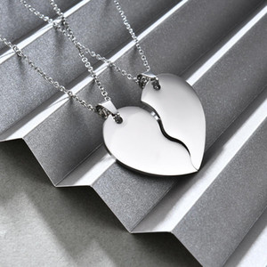 New Fashion Titanium Stainless Steel Lovers Love Heart Puzzle Pendant Necklace Valentine Day Gifts for Men & Women Couple Jewelry Wholesale
