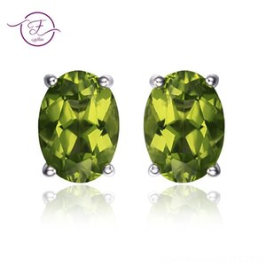 Genuine 925 Sterling Silver Other Earrings Oval Natural Green Peridot Stud Earrings for Women Gemstone Earring Party Anniversary Gifts