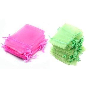 200 PC Organza favor de la boda bolsa de joyas bolsas, 100 piezas verdes 100 Rose Red