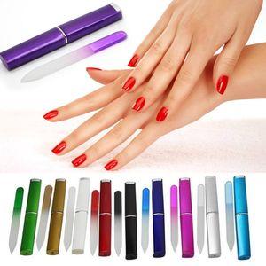La herramienta del arte colorido de uñas de cristal Archivos cristalina durable de lima de uñas Buffer NailCare de uñas para manicura UV polacas Herramientas 9pcs / set RRA2134