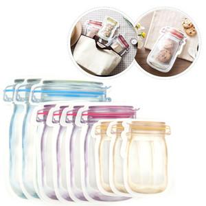 Armazenamento de Alimentos Bolsas Mason Jar Forma reutilizável Snacks Biscoito condimento Zipper selo estanques Organizador plástico para viagem GH016