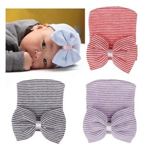 Baby Bow Knitted Pullover Beanie Hats Caps 2020 New Newborn Baby Girl Toddler Stripe Cap Infant Comfy Bowknot Beanie Hat