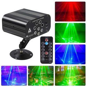 128 Patterns Home LED-Disco-Licht Professionelle DJ Bühne 8 Löcher Laser-Projektor-Lichter Music Control-Partei-Licht für Hochzeit Bar UK US-AU-EU