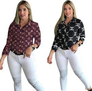 2020 новых женщины конструктора письма печати Рубашка Женщина Плюс Размер Четыре сезона Мода Блузы Женщина отворот шея с длинным рукавом рубашкой