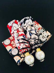 Новый Emoj мода кошка шаблон белый жемчуг ручка зонтик классические женщины складной старинные логотип Зонтик для дождя или солнца подарочная коробка (Анита)