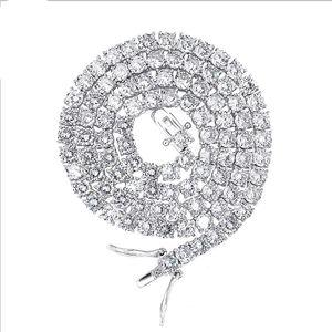 Sólido 10K oro blanco 26inches de la cadena collar de tenis ajuste a todo color moissanita F claridad FL