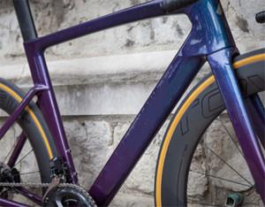 새 목록 도로 자전거 탄소 프레임 반짝 카멜레온 블루 적용 DI2 그룹 700C 디스크 브레이크 탄소 자전거 프레임 보증 2 년