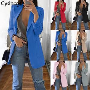 Cysincos İnce Blazer Kadınlar 2019 Moda Sonbahar Casual Ceket Kadın Bürosu Lady Suit Katı Turn-aşağı Yaka Blazer Ceket Tops