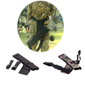 Three Tubes Back Shoulder Camo Black Canvas ry Bow Arrow Case Pot Sac Holder Package Belt Quiver Strap Bag Outdoor Hunting Pouch Bags