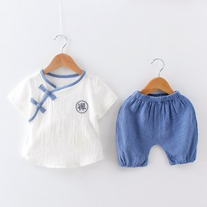 2019 estate abbigliamento per bambini nuovi vestiti per bambini per bambini 0-1-2-3 anni a maniche corte in cotone e lino set due pezzi Hanfu