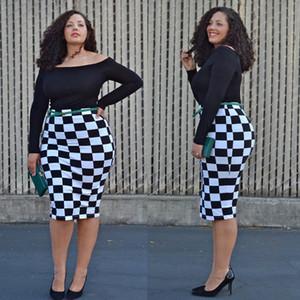 Новый 2016 мода печати летние женщины большие размеры плюс размер женская одежда длиной до колен повседневная slash шеи bodycon юбки