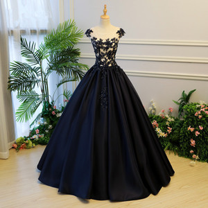 Dark Navy Blue Embroidery Prom Dresses 2020 Crystal Beaded Long Prom Gowns Abiye Plus Size Puffy Ball Gowns Vestido Longo