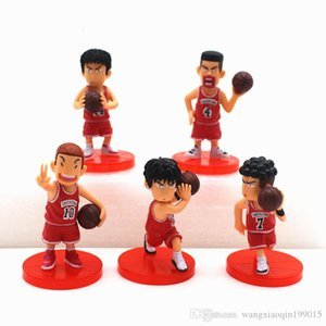5pcs lot SLAM DUNK Shohoku Rukawa Kaede PVC Action Figure Collectable Model Toy for kids gift