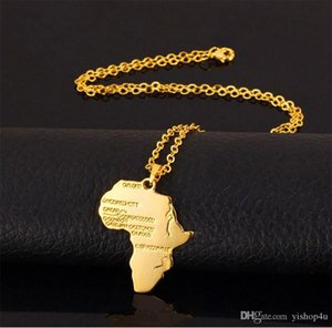 New Fashion Africa Gold Unisex Women Men African Map Pendant Necklace Hip Hop Jewelry 50cm Box Chain