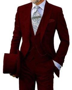 Düğün Custom Made Slim Fit Tek Breasted Damat Erkekler Suits Nedensel Balo Damat smokin 3 Pieces İçin 2020 Burgundy Erkekler Suit
