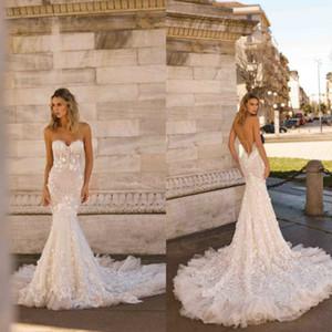 2020 nouvelle Berta robes de mariée sirène tribunal train dentelle Appliqued sweetheart robes de mariée personnalisé plus la taille robe de mariée Boho