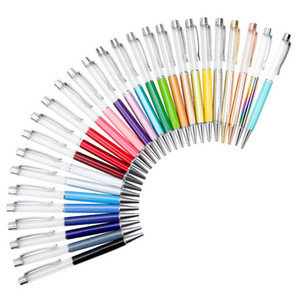 Writing Gift DIY Empty Tube Metal Ballpoint Pens Self-filling Floating Glitter Dried Flower Crystal Pen Ballpoint Pens 27 Color