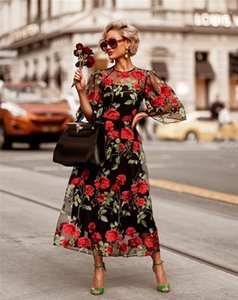 Dresses Fashion Rose Embroidery Hollow Out Womens Gauze 2PCS Dresses Panelled Zipper Females Clothing Lace Womens Casual