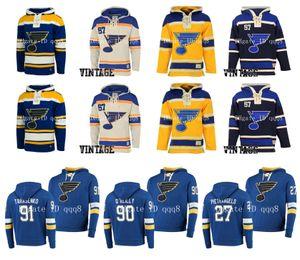 St. Louis Blues Hoodie 91 Vladimir Tarasenko 90 Ryan O'Reilly 27 Alex Pietrangelo Binnington Wayne Gretzky Old Time Hockey Jersey Pullover