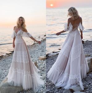 2019 Spaghetti Straps Lace A Line Wedding Dresses Tulle Applique Ruffles Sweep Train Summer Beach Wedding Bridal Gowns robe de mariée