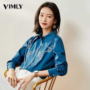 Vimly Office Lady bordado blusa elegantes camisas camisas de las mujeres de negocios del trabajo femenino Tops estilo