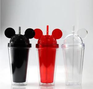 돔 뚜껑 플러스 밀짚 마우스 귀 재사용 귀여운 음료 컵 이중 벽 명확한 플라스틱 텀블러와 아크릴 텀블러 15온스 8colors