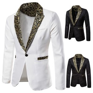 Mens Fashion Casual Slim Fit Blazers Male Nightclub Wedding Stage Party Blazer Solid Deep V Neck Shinny Suit Outwears
