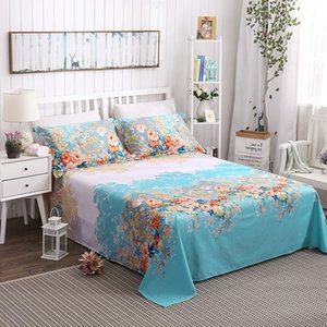 Bonenjoy 3pc Bed Sheet with Pillowcase Flower Geometric Printed Polyester Queen King Full Size