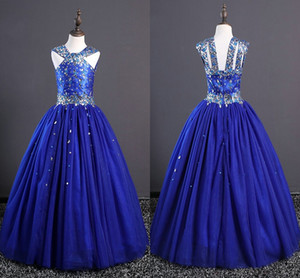 Silver Rhinestones Royal Blue Girls Pageant Graduation Dresses 2020 Designer Back Princess Tulle Birthday Party Prom Evening Gowns Kids