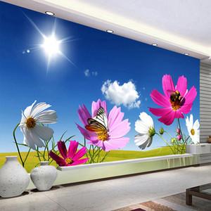 Personalizzato 3D Photo Carta da parati del sole Fiori Natura parete Paesaggio Pittura decorazione del salone murale Papel De Parede moderna