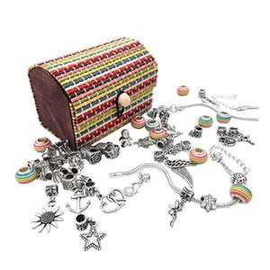 4 Pandora Kızlar Gençler için Set Takımı DIY Craft Avrupa Boncuk Gümüş Kaplama Yılan Zincir Takı Hediye Verme 1 Charm Bilezik içinde