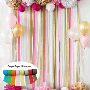4.5cmX25M DIY Crepe Paper Streamer Backdrop Ribbons Curtain Photography Backdrops For Wedding Birthday Party Baby Shower Decor
