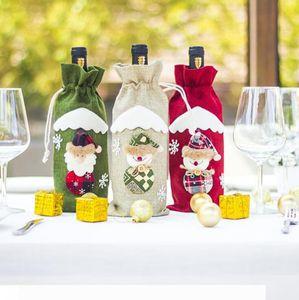 Jute Christmas Wine Bags Wine Bottle Cover Snowman Santa Claus Elk Gift Bag Christmas Table Decorations OOA7364