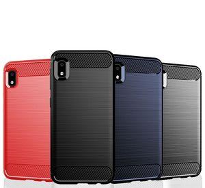 Karbon Elyaf Doku İnce Zırh Fırçalı TPU VAKA KAPAK İÇİN Samsung Galaxy A10S A20S A10E Wide4 A50S A90, A90 5G M30S 100pcs