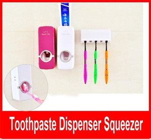 Auto Toothpaste Dispenser Squeezer Brush Holder Hole Set Wall Mount Rose Red and white Free shipping