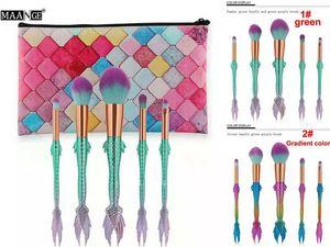 MAANGE Mermaid Makyaj brushe 5 adet set Mermaid fırçalar tutucu allık fırçaları Göz farı fırça makyaj fırça araçları Toz Kontur fırçalar