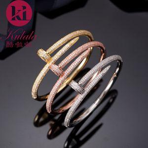 Europa Amerika Mode Marke Schmuck Lady Messing Double Circle voller Diamant-Pegs Gold 18K Nails-Armband-Armband (1pcs) 3 Farbe