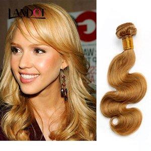 A Honey Blonde Brazilian Peruvian Malaysian Indian Russian Human Hair Weave Body Wave 3 4 5 Bundles Lot Color 27 #Brazilian Hair Extens