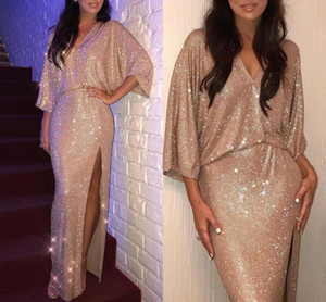 2019 Elegant V Neck 3 4 Long Sleeves Sequin Mermaid Evening Dresses Ruched Split Floor Length Evening Prom Gowns Plus Size BC0735