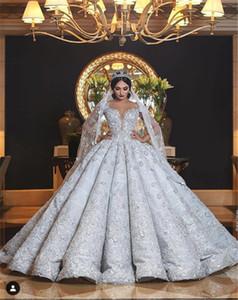 Off Shoulder Puffy Wedding Dresses Modern Lace Applique Floral Arabic Dubai Princess Wedding Ball Gown Bride robes de mariee