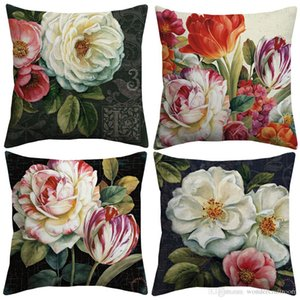 European Vintage Oil Painting Floral Art Cushion Cover Camellia Tulip Peony China Rose Flower Cushion Covers Linen Cotton Pillow Case