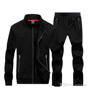 WholesaleNew Autumn Winter Men Sporting Suit Hoodies Jacket+Pant Sweatsuit Two Piece Set Tracksuit Sportswear Thick For Men Clothing
