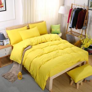 헤어 어린이 방 학생들의 기숙사 4 / 3PCS 이불 커버 연삭 침구 세트 퓨어 컬러는 부드러운 침대 시트 세트 베개를 설정합니다