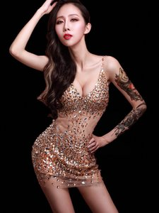 2019 New Deep V collar dress Crystals sexy female costume stage costume for bar party stage singer dancer star nightclub performance show
