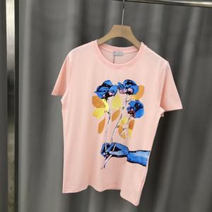 2020 primavera-estate di lusso Europa Parigi Pittura arte Fiore Stampa maglietta di modo delle donne T della camicia degli uomini puro cotone Tee Top
