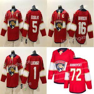 Panteras de Florida más nuevo de hockey 72 Sergei Bobrovsky 16 Aleksander Barkov 1 Roberto Luongo 5 Aaron Ekblad Rojo Blanco jerseys del hockey