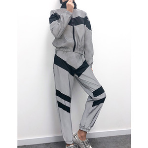 Womens Patchwork Reflective Sport Tracksuits Striped Stand Neck Ladies Two Piece Sets Casual Active Female Clothing