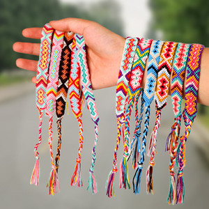 Vsco Woven Bracelet for Girl Women Handmade Rope Hit Color Exotic Wind Pattern Rainbow Bracelet Lucky Friendship Bracelet With Card