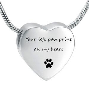 LHP197 Grabado personalizado Acero inoxidable Corazón Urna Collares Mascota Perro Paw Print Cremación Collar Memorial Colgante Cenizas